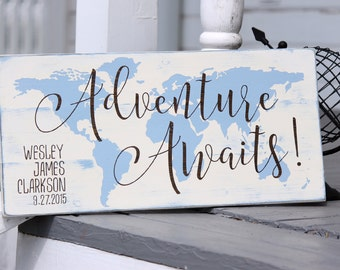Adventure awaits map sign, Custom name and birth date sign, nursery decor, Hand painted wood sign, New baby gift, Measures 10.5 x 22""