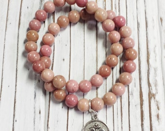 Rhodonite Bracelet, Grade A Rhodonite, Pink Stone Bracelet, Stretch Bracelet, Pink Bracelet