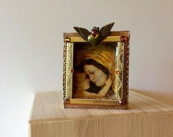 Wooden Virgin Mary shrine  - religious art - Catholic art - Virgin Mary art - mixed media and collaged Virgin Mary shrine - mother and child