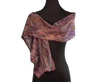 Lightweight Scarf; Nuno Felted Scarf; Brown and Purple Silk Scarf 148