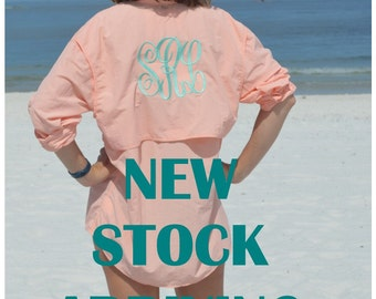 Monogrammed Fishing Shirts -- SIZE XSMALL and SMALL--Long Sleeve/   Monogram/Cool Summer Shirt /Swimsuit Cover Up/ Bridesmaid Gift!