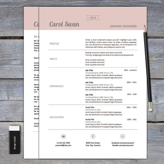 items similar to sale resume and cover letter template for word  u2013 cv template