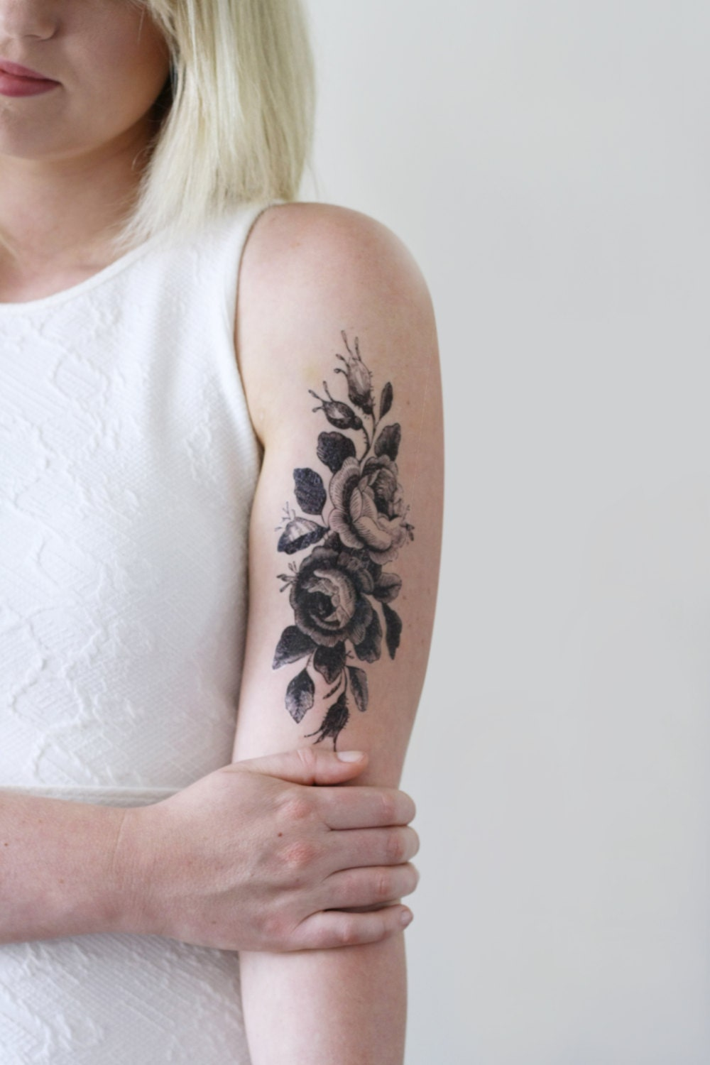 Large floral temporary tattoo rose temporary tattoo flower for Floral temporary tattoos