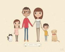 Custom Family Portrait Illustration | Personalised Digital Print 8x10 or A4 | Gift Idea
