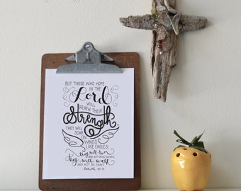 Isaiah 40:31 Printable Bible Verse Art Print 8x10 Digital Wall Art Gift