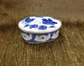 Cobalt Blue on White Porcelain Trinket Box, Blue and White Ceramic Box, Oval Trinket Box, Oval Treasure Box