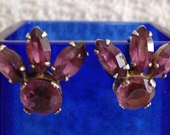 Amethyst Earrings, Sterling Silver Amethyst Screw Back Earrings, Art Deco, 1930s, 1940s, Sterling Amethyst Earrings Screw Back
