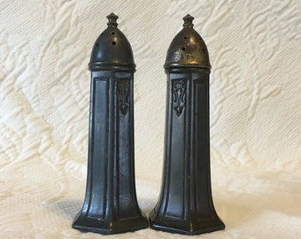 Silver Plate Salt and Pepper Shakers,  W G Co, Silver Plate Shakers, 6 Sided, Screw Tops, W G Co 123, Silver Plate, Salt and Pepper, Shakers