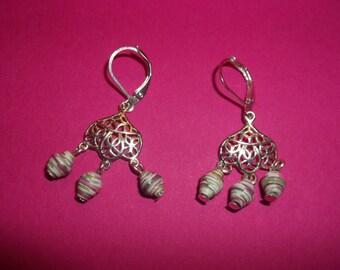 Three bead Chandelier Earrings