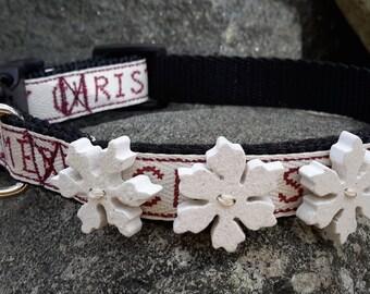 Merry Christmas Dog Collar, holiday dog collar, snowflake, dog collar for girl, dog collar for boy, small dog collar, 15 inch dog collar