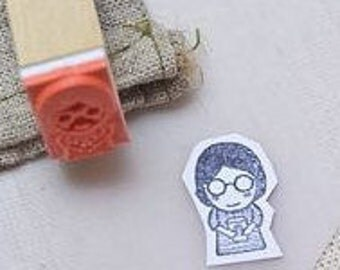 Coffee girl rubber stamp