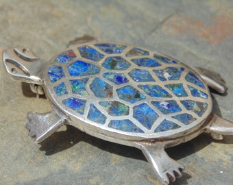 Miguel Melendez ~ Vintage Mexican Sterling Silver and Azurmalachite Turtle Brooch / Pin