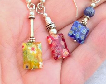 9 different Millefiori Handmade Glass Earrings. Sterling Silver. Red, Blue, Yellow, Green  free US ship 20.00 ea