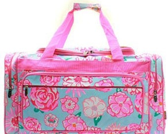 Personalized large flower Duffle, Monogram Duffle, Duffle Bag Persoanlized, Monogram Duffle Bag, School Duffle, Sports bag, large duffle