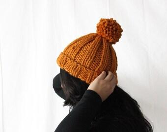Knit Pom Pom Beanie, Chunky Knits, Women's Beanie Hat, Pom Pom Hat, Warm Wool Beanie, Winter Accessories