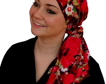 Carlee Pre-Tied Head Scarf, Women's Cancer Headwear, Chemo Scarf, Alopecia Hat, Head Wrap, Head Cover for Hair Loss - Red Floral