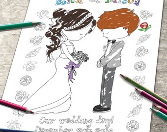 Personalized Wedding Coloring Page - Digital Wedding Party - Bride & Groom Invitation - childrens kids activity - JPEG file
