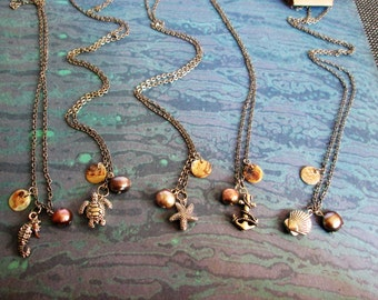 Ocean Themed Charm Necklaces with Pearls