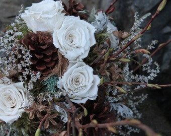 custom dried bridal bouquet, dried flower bouquet, pinecone bouquet, woodland bouquet, winter bridal bouquet, ponderosa pinecone, white rose