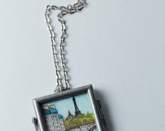 Miniature Painting, Eiffel Tower, Paris Watercolor, Watercolor Pendant, Paris Bridge Painting, Wearable Art, Original Painting, Art Jewelry
