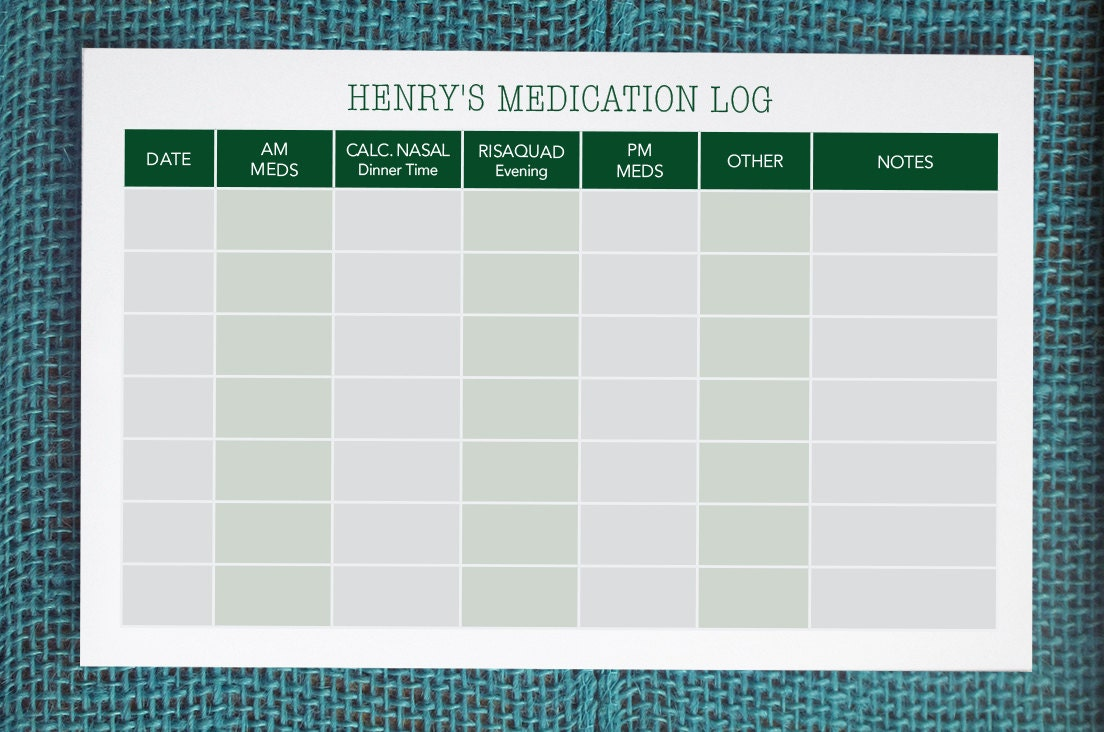 It's just an image of Ridiculous Printable Medication Log