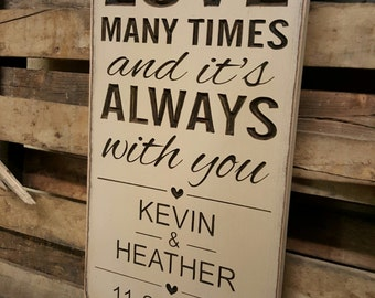 "Personalized Carved Wooden Sign - ""I've Fallen In Love Many Times and it's Always With You"""