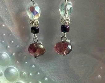 Unique sparkling silver dangle earrings. Free shipping.