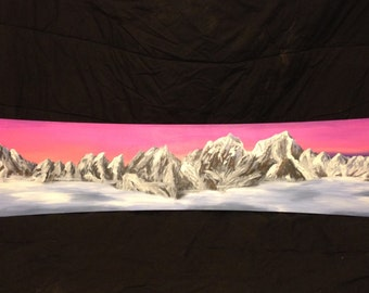 Mountains Over Clouds-Oil Painting on Snowboard Deck