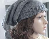 HANDMADE Knit Grey Stocking Hat. Winter Hat. Tassel Hat. Knit Hat. Women's Hat.