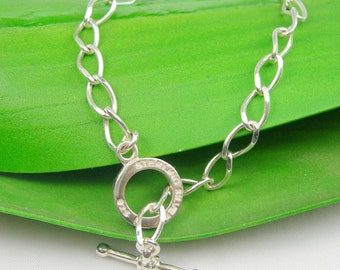 Oval Open Curb Links Toggle Clasp Fittings Bracelet, Available in 17cm, 19cm, 21cm, Genuine 925 Sterling Silver - OVL100TS