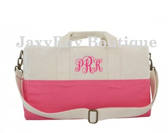 Great for Baby shower Monogrammed Small Duffel Bag Personalized Duffel Bag Monogrammed Canvas Duffle Bag Great gift for her