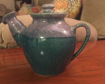 ceramic pottery teapot purple, teal, and blue