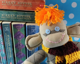 Sock Monkey / Ron Weasley / Fred and George Weasley / Harry Potter Nursery / Harry Potter Gift / Harry Potter Decor / Gryffindor Decor