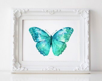 Butterfly poster, Turquoise Butterfly Art Print, Nursery Wall print Turquoise decor, Butterfly wall decor, Digital PRINTABLE wall art print