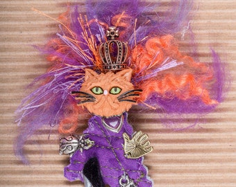 Brooch Kitty Grumpy Cat PEACE ART Doll Purple & Orange Whimsical READY To Ship