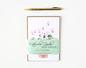 Floral Notecards Set of Two Botanical Watercolor Blank Cards With Envelopes