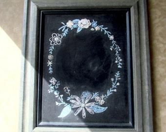 Rustic Blue/Grey Chalkboard, Framed Chalkboard, Wood Framed Chalkboard, Distressed Blue Frame, Wall Decor, Message Board