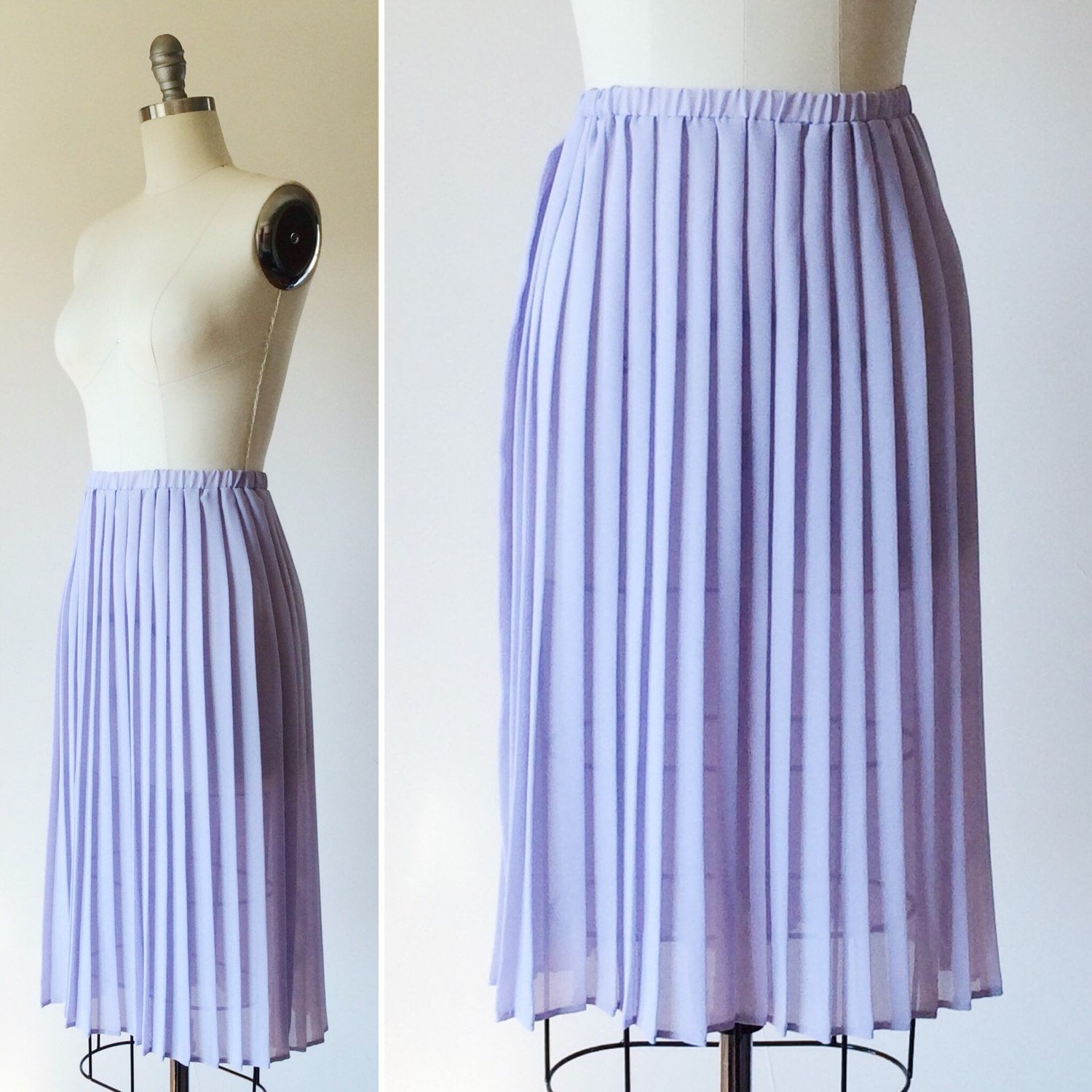 1960s lavender pleated skirt vintage lilac midi by