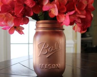 Rose Gold Mason Jar (Pint Sized)