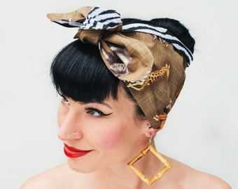 50s Fifties Pin Up Rock Rockabilly Safari Animal & Zebra Print headscarf bandana