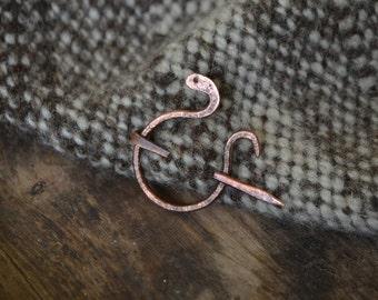 Shawl pin, simple shawl pin, penannular brooch, serpent brooch, Anglo-Saxon, AngloSaxon pin, penannular shawl pin, recycled copper shawl pin