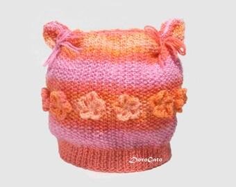 Knit Baby hat, Cat Ears Beanie Hat, Flower baby hat, baby hat with ears, Funny knit hat, handmade hat, pink, peach, orange, crochet baby hat