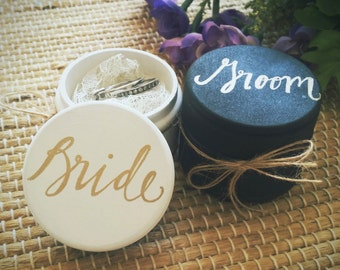 Ring Boxes, Bride and Groom Ring Bearer Boxes, Custom Wedding Ring Boxes, Set of Two, Wooden Ring Box, Wedding Gift, Rustic Ring Bearer Box