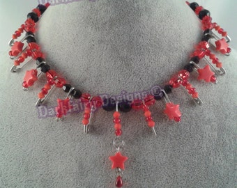 Beaded safetypin necklace with stars
