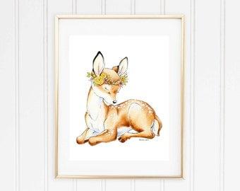 Fawn Wall Art, Fawn, Woodland Nursery, Watercolour Nursery, Nursery Decor, Nursery Art, Baby Shower Gift, Doe, Deer, Baby Deer Shower