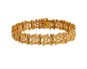 A 1970's Bark Effect 9k Gold Bracelet