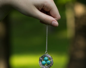 Wire Wrapped Bird Nest Necklace