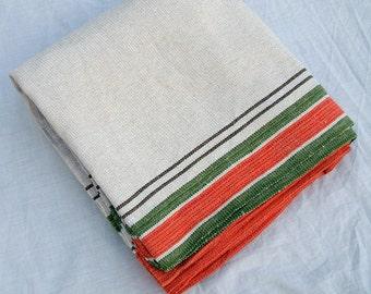 Large Swedish 1950s Vintage Orange/Green/White Tablecloth