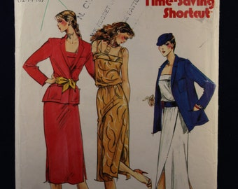Vintage Sewing Pattern Butterick 6841 for a Woman's Dress & Jacket in Size 12-14-16
