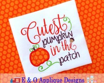 Cutest Pumpkin In the Patch Digital Embroidery Design - Pumpkin Machine Applique Design - 5 Sizes